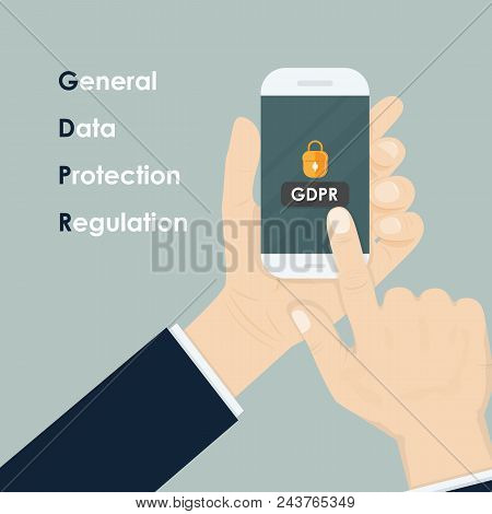 Hand Holding Smartphone With General Data Protection Regulation.gdpr Concept.smartphone Security,per