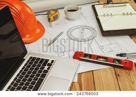 Helmet And Architectural Equipment. On Blueprint, Architectural Concept