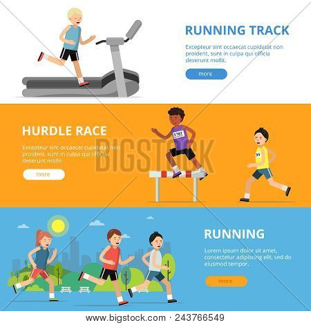 Horizontal Banners With Different Style Running Peoples. Man Run, Athlete On Track Competition, Vect