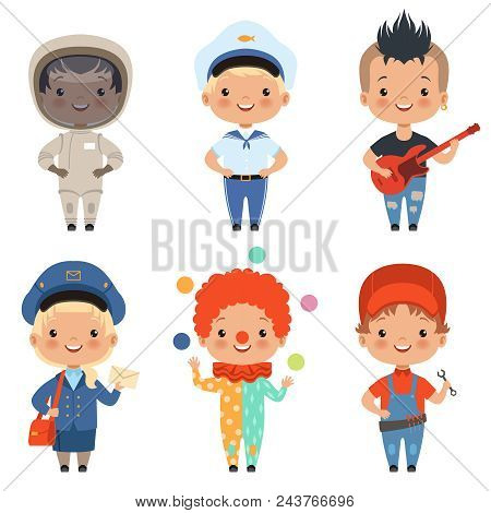 Cartoon Illustrations Of Kids At Different Professions. Vector Postman And Sailor, Musician And Fish