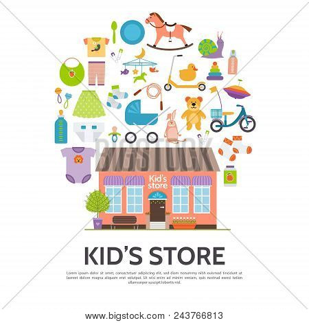 Flat Kids Store Concept With Shop Building Toys Clothing Kick Scooter Bicycle Baby Carriage Yule Pac