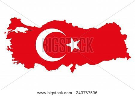 Flag Of Turkey In Country Silhouette. Al Bayrak. Red Flag With White Star And Crescent, In The Count