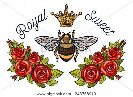 Bee Crown Flowers Embroidery Patch Roses Red. Honey Bee Bumblebee Floral Leaf Wings Insect Embroider