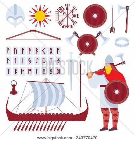 Set With Viking Character And Medieval History Longship, Sward, Helmet, Runes, Accessories, Cultural