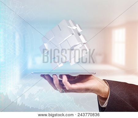 Hand In A Suit Holds Group With White Cubes. Business Idea. Problem Solving Concept. 3d Rendering