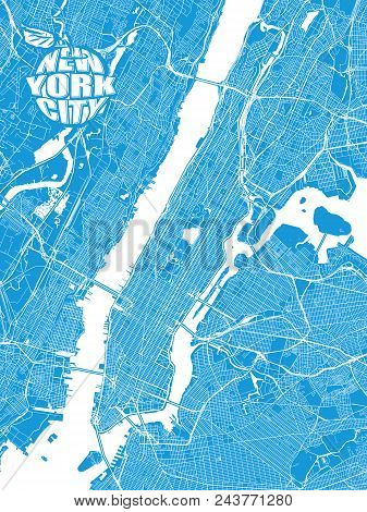 Blue Map Of New York City With Apple Logo. Very Detailled Version With Bridges And Without Names. Ny