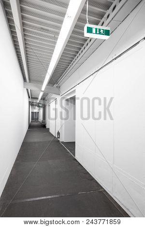 Technical Corridor Large Building Escape Corridor Underground, Long White Corridor, White Hall Under