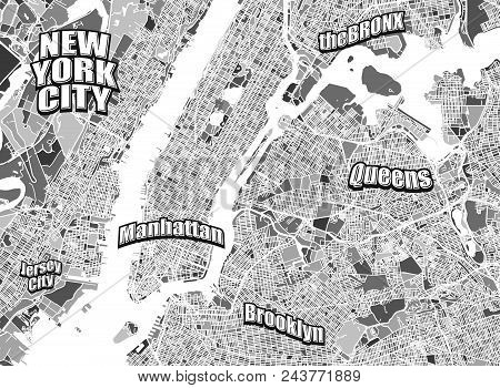 New York City District Map. Very Detailled Version Without Bridges. Letterings Grouped Seperatly In