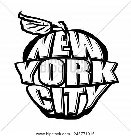 Big Apple Nyc Logo. Black And White Version. Lettering Vector Artwork.