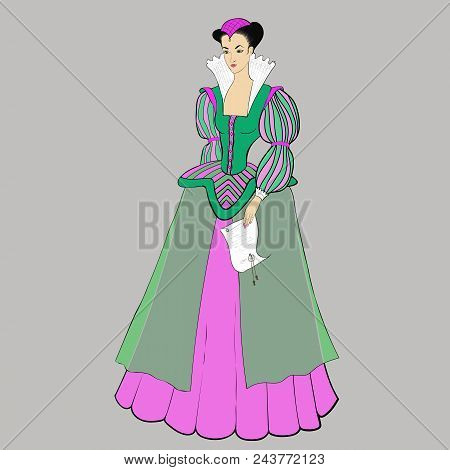 Fashionable Vector Illustration Of A Portrait Of An Aristocrat In A Historical Suit On A Gray Backgr