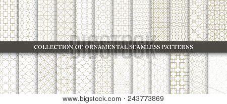Collection Of Seamless Ornamental Vector Patterns. Grid Geometric Oriental Design. You Can Find Repe