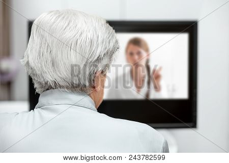 In-home Care For An Elderly Patient With Telemedicine Or Telehealth, Virtual Live Chat On The Monito