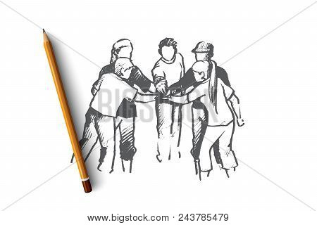 Volunteer Concept. Hand Drawn Group Of Friendly Volunteers Putting Hands Together. People Doing Char