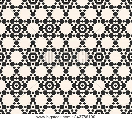 Black And White Seamless Pattern. Vector Geometric Ornament With Small Hexagons, Hexagonal Grid, Lat