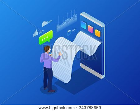 Isometric Receipt Of Statistics Data, Notification On Financial Transaction, Mobile Bank, Smartphone