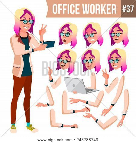 Office Worker Vector. Woman. Professional Officer, Clerk. Adult Business Female. Lady Face Emotions,