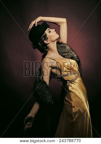 Dancing Classes. Look And Retro Style, Pinup. Girl In Fashionable Yellow Dress, Hat And Fur. Beauty