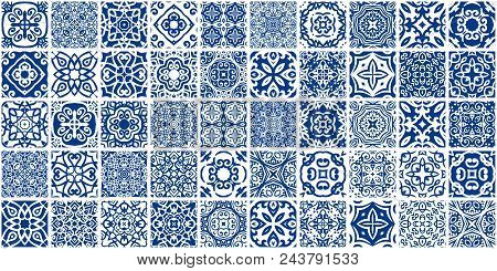 Vector Tiles Patterns. Seamless Flourish Backgrounds With Blue Flourish Elements. Arabic Decorative