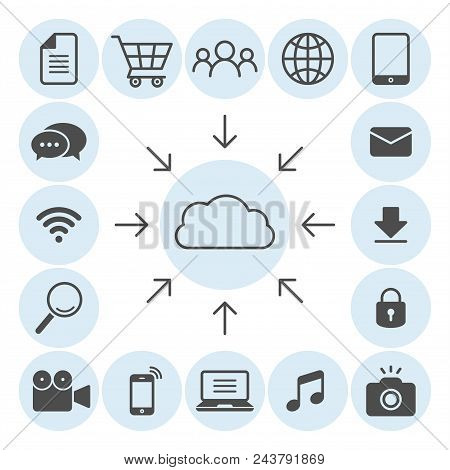 Cloud Computing Flat Vector Icons Set. Grocery Cart, Magnifier, Globe, Book, Email, Lock, Camera, Ph