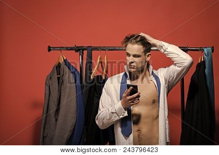 Business Man. Business Communication, New Technology. Man With Smartphone In Open Shirt And Necktie.