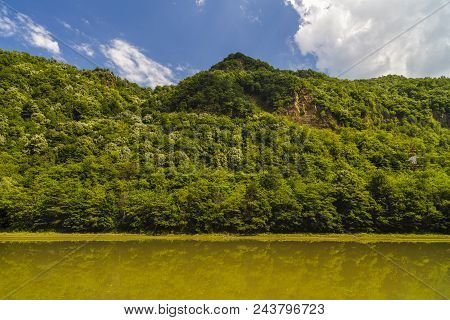 Landscape With Olt River In Romania Surrounded By Forest And Mountains
