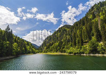 Landscape With A Beautiful Lake In Parang Mountains, Romania