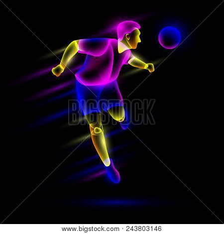 Soccer Player Head Shooting The Soccer Ball. Abstract Neon Transparent Overlay Layers Look Like A Vi