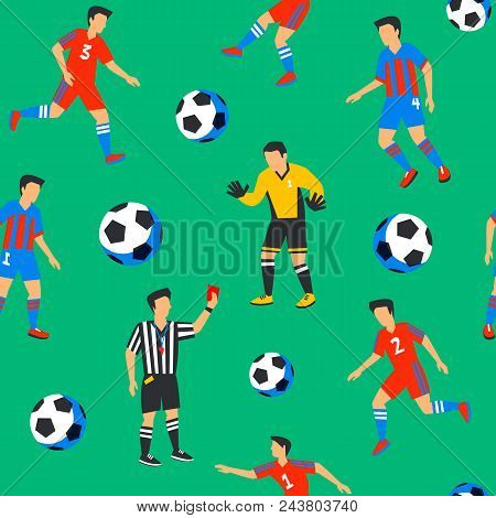 Football Players And Balls Seamless Pattern. Sport Championship. Soccer Players With Football Ball O