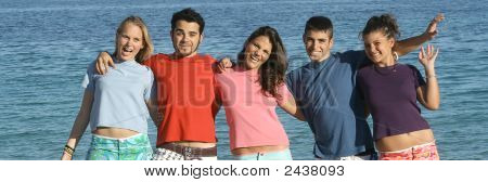 Happy Group Of Youth Having Fun On Vacation