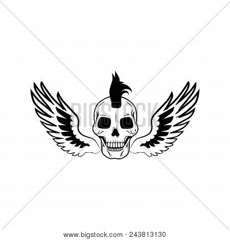 Skull Wearing Interesting Hairstyle Of Punk, Wings With Black Feathers, Image Depicted On Vector Ill
