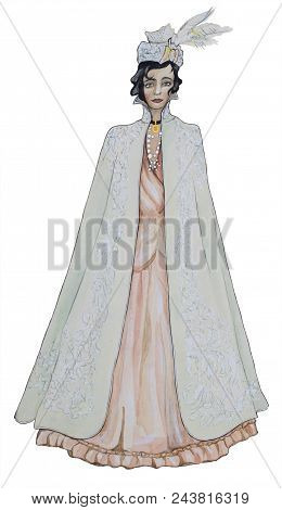 Watercolor Portrait Of A Fashionable Beautiful Aristocrat In A Light Cloak And Suit On A White Backg
