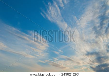 Blue Sky Landscape With White Dramatic Clouds - Vast Sunset Sky View, Sunset Sky Landscape