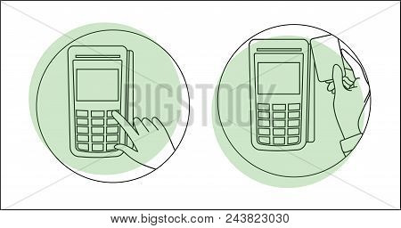 Pos Terminal. Payment Terminal And Bank Cards. Terminal For Paying For Goods On The Map. Payment Ter