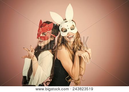 Sex Toys. Sex Shop. Easter Bunny, Playboy, Friendship. Easter Cocept, Two Pretty Girls In Rabbit Mas