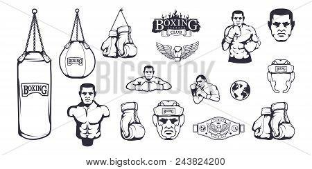 Set Of Different Elements For Box Design - Boxing Helmet, Punching Bag, Boxing Gloves, Boxing Belt,