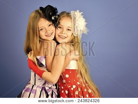 Friednship. Children Girls In Dress, Family And Sisters. Children Embrace, Sisters And Friends, Copy