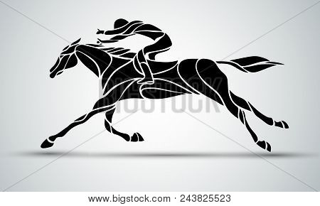 Horse Race. Equestrian Sport. Silhouette Of Racing Horse With Jockey On Isolated Background. Horse A