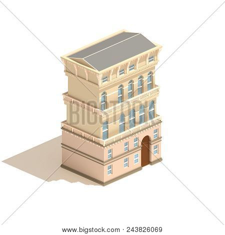Isometric Apartment House 3d Illustration Isolated On White Background