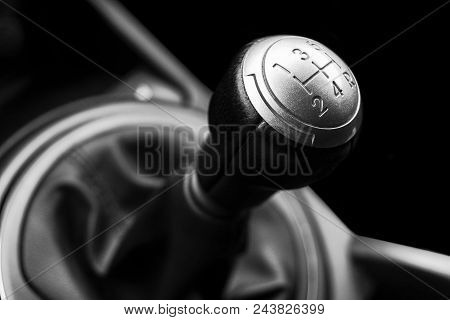 Close Up View Of A Gear Lever Shift. Manual Gearbox. Car Interior Details. Car Transmission. Soft Li