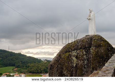 Povoa De Lanhoso, Portugal - May 31, 2018 : Late Afternoon On Top Of The Hill, Picture Our Lady Of P