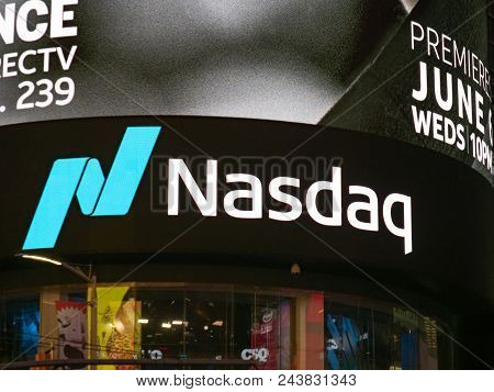 New York, Ny - May 16, 2018: Nasdaq Marketsite Location At Times Square. This Is The Commercial Mark