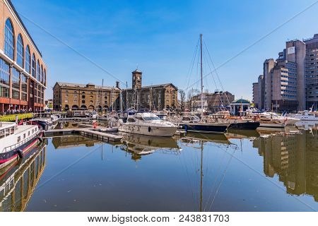 London, United Kingdom - April 19: This Is A View Of  St Katharine Docks, A Commercial Docks Area Wh