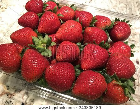Fresh Beautiful Red Strawberries Bought From The Market.