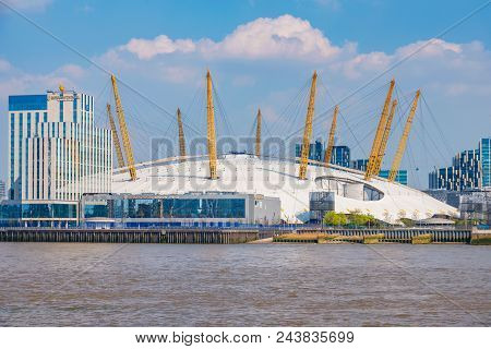 London, United Kingdom - April 20: View Of The O2 Arena, A Famous Entertainment Complex In Greenwich
