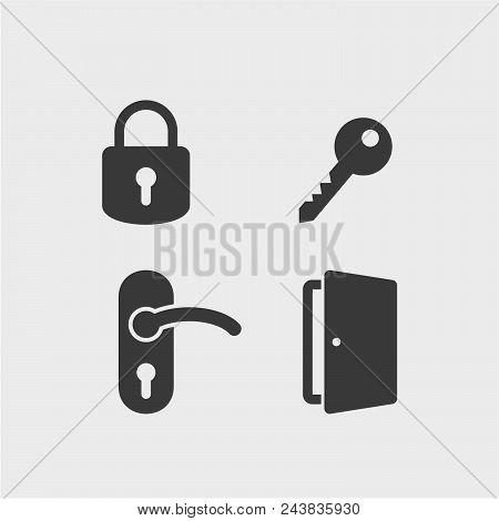 Padlock Flat Vector Icons Set. Doors Flat Vector Icons Set. Keys Flat Vector Icons Set. Lock, Key, D