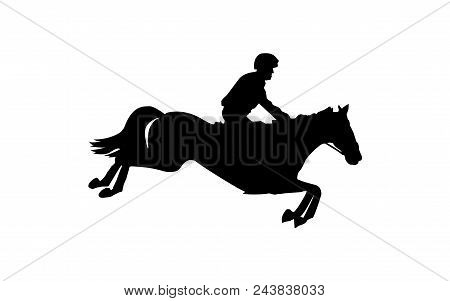 Horse Race. Equestrian Sport. Silhouette Of Racing Horse With Jockey. Jumping. Third Step.