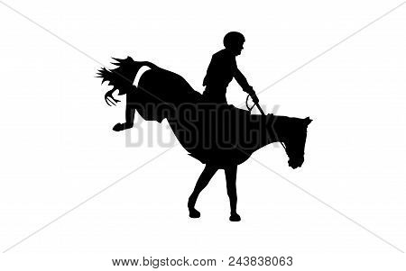 Horse Race. Equestrian Sport. Silhouette Of Racing Horse With Jockey. Jumping. Fourth Step.