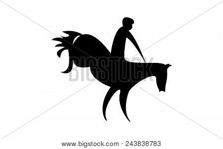 Simplified Horse Race.  Equestrian Sport. Silhouette Of Racing Horse With Jockey. Jumping. Fourth St