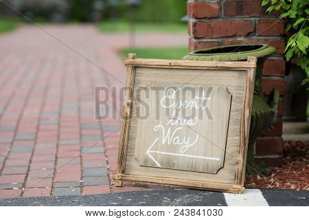 Event This Way Handmade Wedding Direction Sign.
