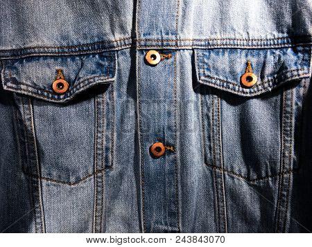 Frnt view ,Blue jacket Jeans